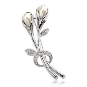 Galaxy Jewellery. Elements Pearl Flower Brooch in 18ct White Gold Finish