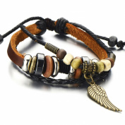 Angel Wing Multi-strand Brown Leather Bracelet for Men Women Tribal Leather Wristband Wrap Bracelet