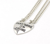 Half Heart Partners In Crime Letters Necklace Pendant