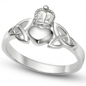 925 Sterling Silver Irish Claddagh Friendship and Love Band Celtic Ring w/ Trinity Symbols