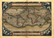 Reproduction Antique Map of The World, by Abraham Ortelius A1 Size 78 x 56 cm