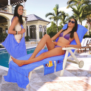 Lounger Mate Beach Towel Sun Lounger For Holiday Garden Lounge with Pockets - BLUE