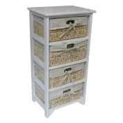 JVL 4-Drawer Maize Lined Drawers, 38 x 27.5 x 76 cm, White