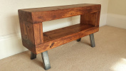 Industrial style chunky slim rustic Tv stand cherry finish with steel legs