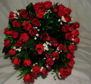 Luscious Artificial Silk Red Mini Rose bush - 60 Heads with Gyp - Wedding Grave Home Decoration