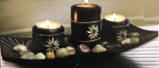Black Bamboo Candle Tray & 3 Candle Holder With Polished Stones
