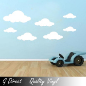 18x Cloud Wall Stickers Vinyl Decals Children's Room Nusery Boys Girls Transfer white