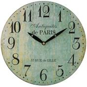 Paris 28Cm Distressed Round Wall Clock - Duck Egg Blue