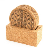 Berk - Inner Worlds Flower of Life Meditation Cork Coaster with Stand