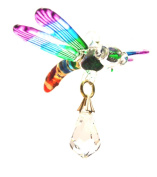Rainbow Hand Blown & Painted Glass Hanging Dragonfly with a. Crystal