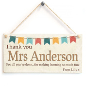 Thank You Teacher/Coach/Nurse/Daycare/Carer - Personalised Thank You Wooden Plaque Sign Gift