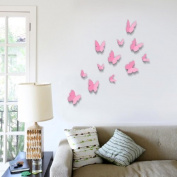 Walplus 12-Piece 3D Butterfly Wall Stickers, Pink