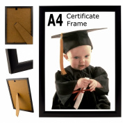 A4 Plain Black Photo Picture Certificate Frame Wall & Desk Mountable