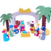 Gisela Graham Wooden Nativity Scene Set Bright Coloured - Great for Kids