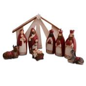 Christmas Nativity Nine Piece Set In Red & Cream