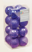 16 x Purple shatterproof Christmas tree Baubles Decorations Mixed finishes