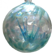 Witches or Spirit ball, 10cm, blue with glass strands inside