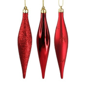 Six Red Droplet Christmas Tree Decorations