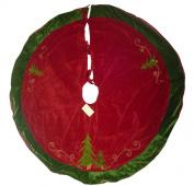 130cm Beautiful Christmas Tree Skirt Velvet Feel Material In Red & Gold