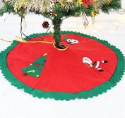 Happy Santa Christmas Tree Skirt 90cm Diameter Holiday Decor Floorcloth Rug Mat