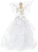 Festive Fabric Angel Christmas Tree Topper 23 cm, White