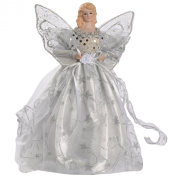 WeRChristmas 25 cm Angel Decoration Christmas Tree Top Topper with Feather Wings, Silver