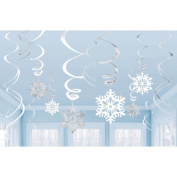 2 Packs Of 6 Swirls Snowflake Value Packs - 12 Pieces In Total - Christmas + All Year Round Decoration