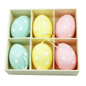 Set Of Six Polka Dot Easter Egg Decorations