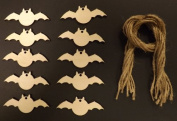 Wooden Halloween Bat Gift Tags / Decorations 70mm - Pack of 10 shapes