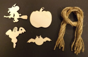 Wooden Halloween Gift Tags / Decorations 70mm - 4 designs - Pack of 12 shapes