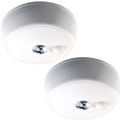 Mr. Beams MB982 Wireless Battery-Operated Indoor/Outdoor Motion-Sensing LED Ceiling Light, 2-Pack, White