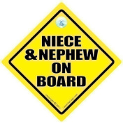 Niece and Nephew On Board, Niece and Nephew Car Sign, Yellow Text, Baby on Board Sign, Bumper Sticker, Niece & Nephew Car Sign, Baby on Board, Bumper Sticker, Baby Sign, Baby Car Sign, Niece On Board, Nephew On Board