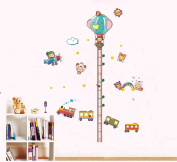 ufengke® Lovely Baby Height Chart Decals(70-180cm), Cartoon Train Plane and Hot Air Balloon, Children's Room Nursery Removable Wall Stickers Murals