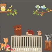 Revesun Funny Colourful Branch Cute Birds Sika Deer Mushroom Hedgehog Bear Wall Stickers For Baby Bedroom Decor