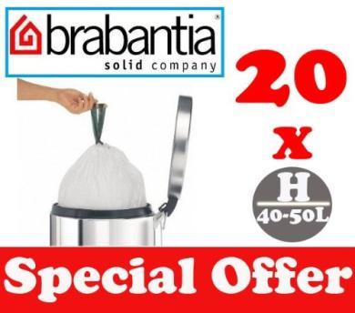 20 x 40-50L Litre Brabantia Smartfix Bin Liners Waste Bags Sacks Type H 8.8-11 UK Gal