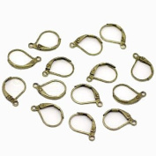 48 Leaver Back Antiqued Brass/gold Earwires 16mm Leverback and Open Loop Pkg of 24 Pairs.