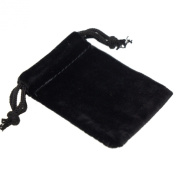 Pack of 12 Black Colour Soft Velvet Pouches w Drawstrings for Jewellery Gift Packaging, 5x7cm
