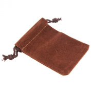 Pack of 12 Brown Colour Soft Velvet Pouches w Drawstrings for Jewellery Gift Packaging, 5x7cm