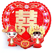 "Double Happiness - Chinese Wedding Paper Decoration - 35x32cm (14x13"") - 2 sheets - Couple"