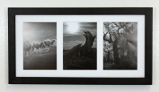 Golden State Art, 9x 18 Black Photo Wood Collage Frame with Mat displays (3) 13cm x 18cm pictures