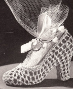 Vintage Crochet PATTERN to make - High Heel Slipper Shoe Bridal Favour. NOT a finished item. This is a pattern and/or instructions to make the item only.