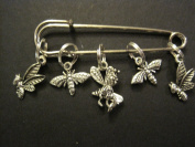Buzzing Bees - 5 Silver Knitting Stitch Markers