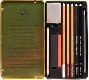 10 Pc Dry Art Drawing, Sketch SET in TIN Case ~ By Fantasia