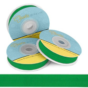 Fold Over Elastic; 1.6cm Wide FOE in Kelly Green, 5 Yards on a Spool