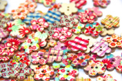 Pack of 50-55 PCS Flower Buttons-Mixed Wood Buttons Sewing Scrapbooking Flowers Shaped 2 Holes
