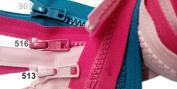 ZipperStop Wholesale Authorised Distributor YKK® 80cm Sport Separating Zipper Medium Weight (Special) Vislon Jacket Zip YKK #5 Moulded Plastic Colour 907 Peacock Blue, 516 Lipstick Pink and 513 Pink