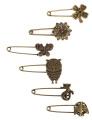 6pcs Different Pattern Bronze Vintage Hijab Pins, Brooch Pins, Safety Pins