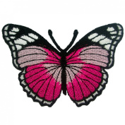 Dark Pink Butterfly Embroidered Iron on Patches