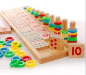 Montessori Rainbow Rings Dominos Children Preschool Teaching Aids Board Wooden Math Toy
