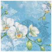 Ideal Home Range 20 Count Paper Luncheon Napkins, White Orchids Blue
